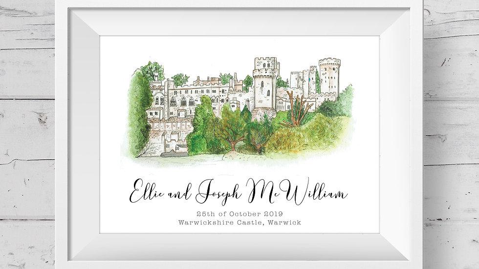 Warwickshire Castle Personalised Wedding Venue Print