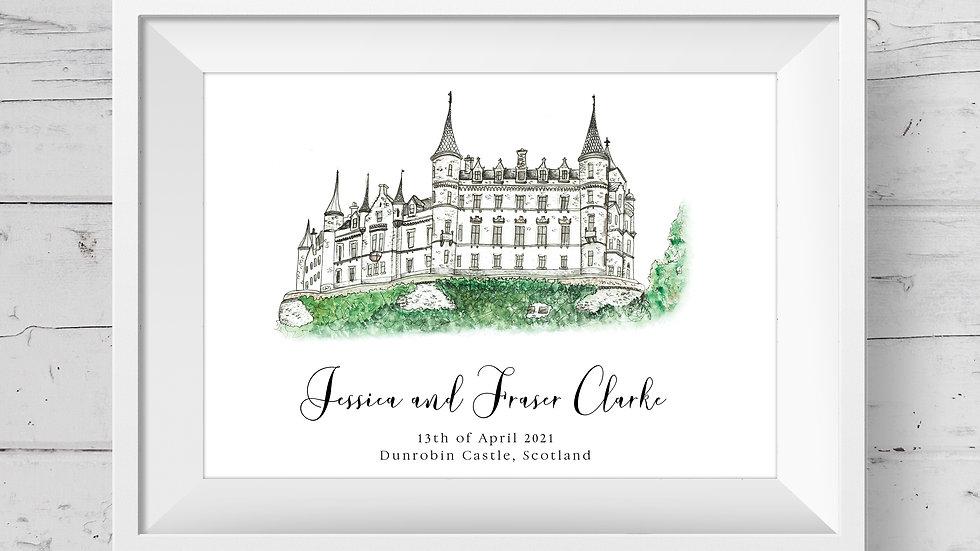 Dunrobin Castle Personalised Wedding Venue Print
