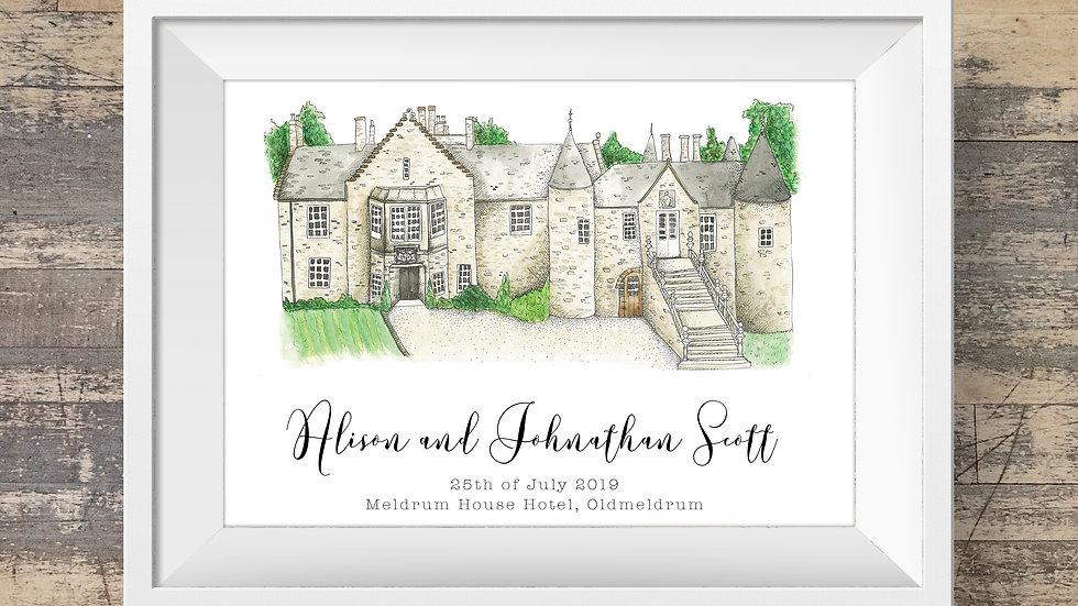 Meldrum House Hotel Personalised Wedding Venue Print