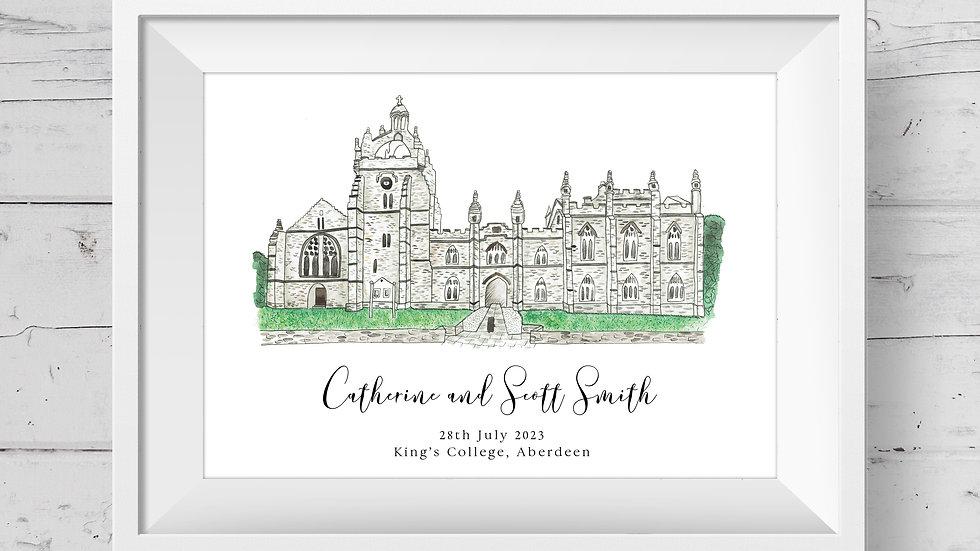 Kings College Personalised Wedding Venue Print