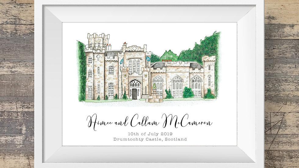 Drumtochty Castle Personalised Wedding Venue Print