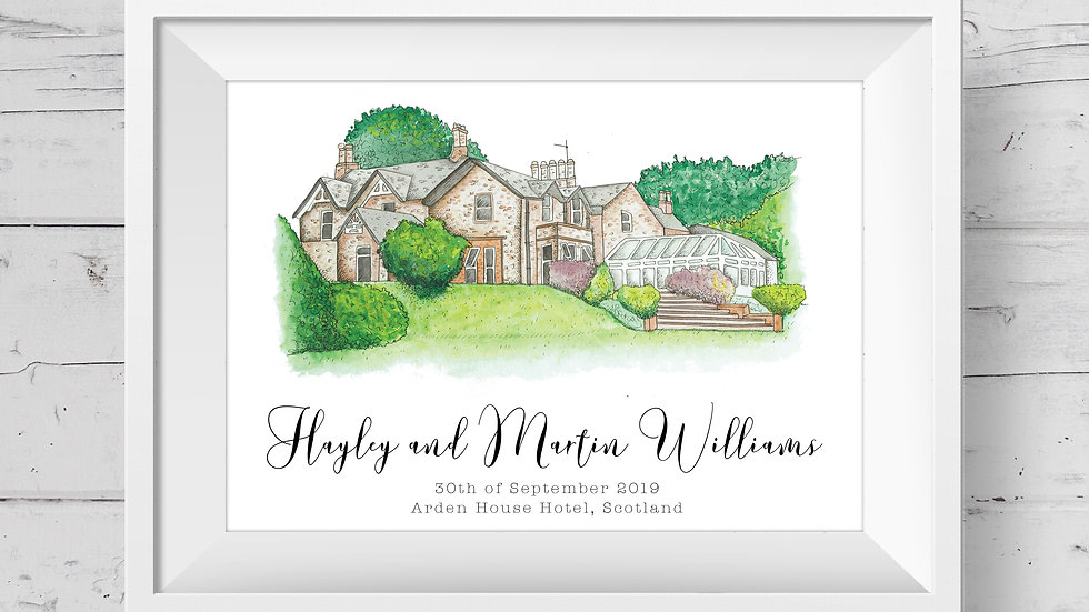 Arden House Hotel Personalised Wedding Venue Print