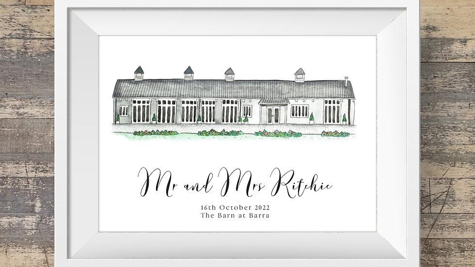The Barn at Barra Personalised Wedding Venue Print
