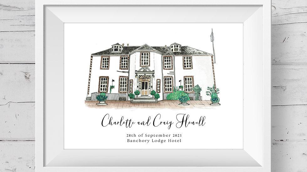 Banchory Lodge Hotel Personalised Wedding Venue Print