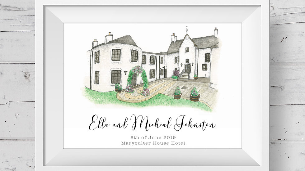 Maryculter House Hotel Personalised Wedding Venue Print