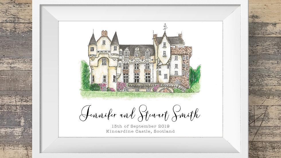 Kincardine Castle Personalised Wedding Venue Print