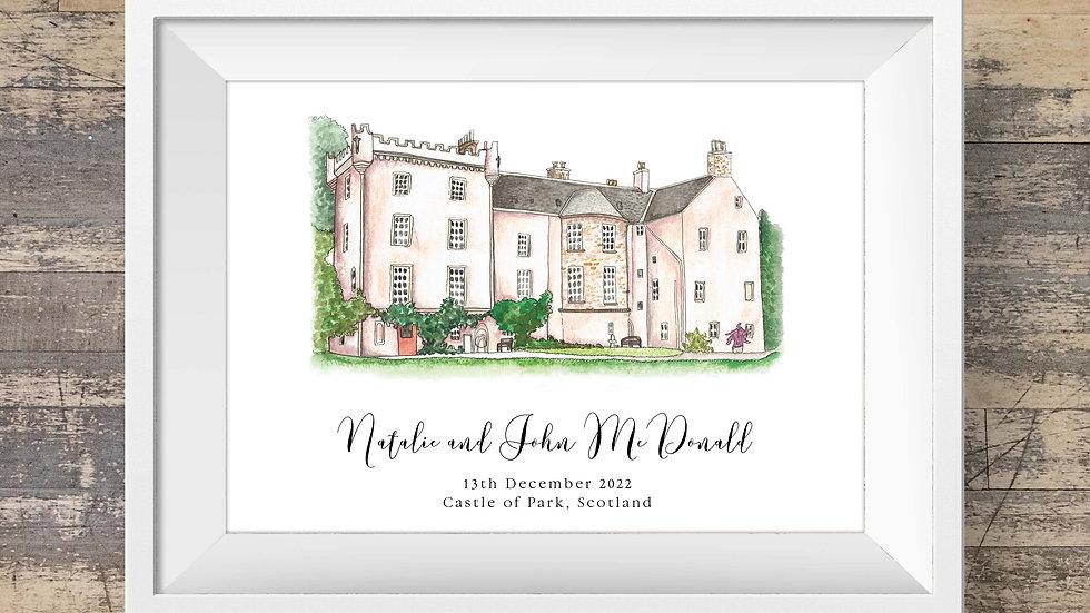 Castle of Park Personalised Wedding Venue Print