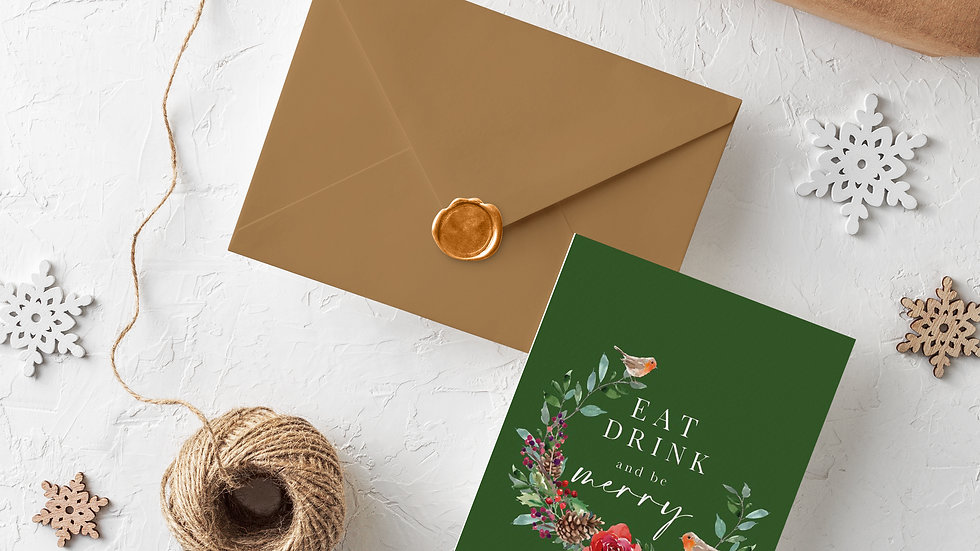 Single Christmas Card Eat Drink And Be Merry