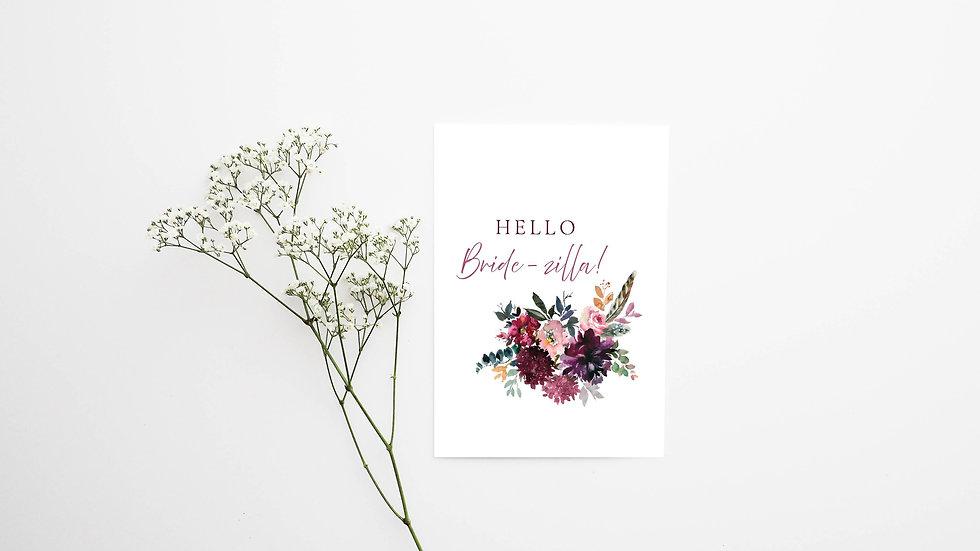 Hello Bride-zilla Engagement Card