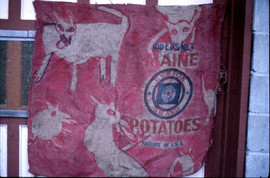 093 - Who Is The Monster Installation, Paris - Wolves in Red on Potato Sack - Acrylic on Burlap - 38