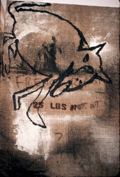 125 - The Wolf in Acrylic on Coffee Sack - 28x19 in - 1986
