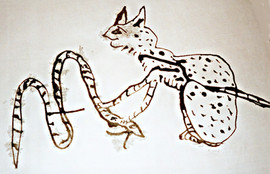 Cat and Snake - Poured India Ink