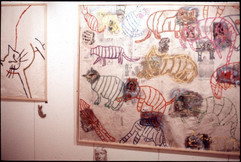 091 - Who Is The Monster Installation, Paris - Prometheus - Mixed Media on Unstretched Canvas - 62x7