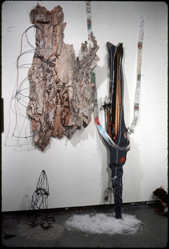 039 - The Shadows Installation - Memory of Norway - Acrylic on Bark - 40x20x1 in