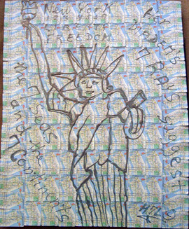 Lady Liberty - Acrylic on Manhattan Subway Map Collage - 42x33 in