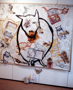 090 - Who Is The Monster Installation, Paris - Blackie's Dream - Mixed Media on Unstretched Canvas -