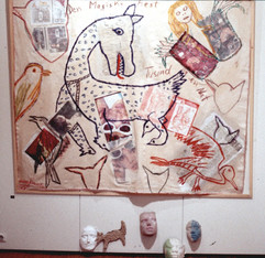 124 - Who Is The Monster Installation, New York - Wolf on Fresh Potatoes Sack II - Acrylic on Burlap