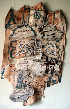 038 - The Shadows Installation - Memory of France - Acrylic on Bark - 41x22x1 in