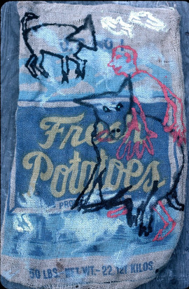 124 - Who Is The Monster Installation, New York - Wolf on Fresh Potatoes Sack II - Acrylic on Burlap