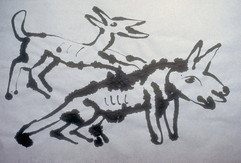 Two Dogs - Poured India Ink on