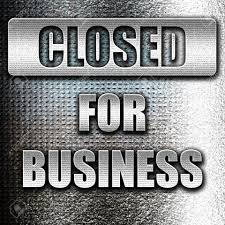 Business closing sign.
