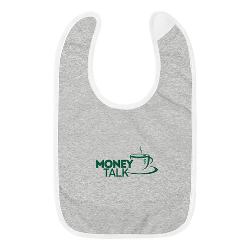 Money Talk Embroidered Baby Bib