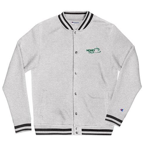 Money Talk Embroidered Champion Bomber Jacket
