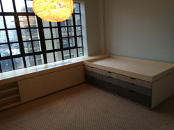 bedroom (radiator cover, bed view)