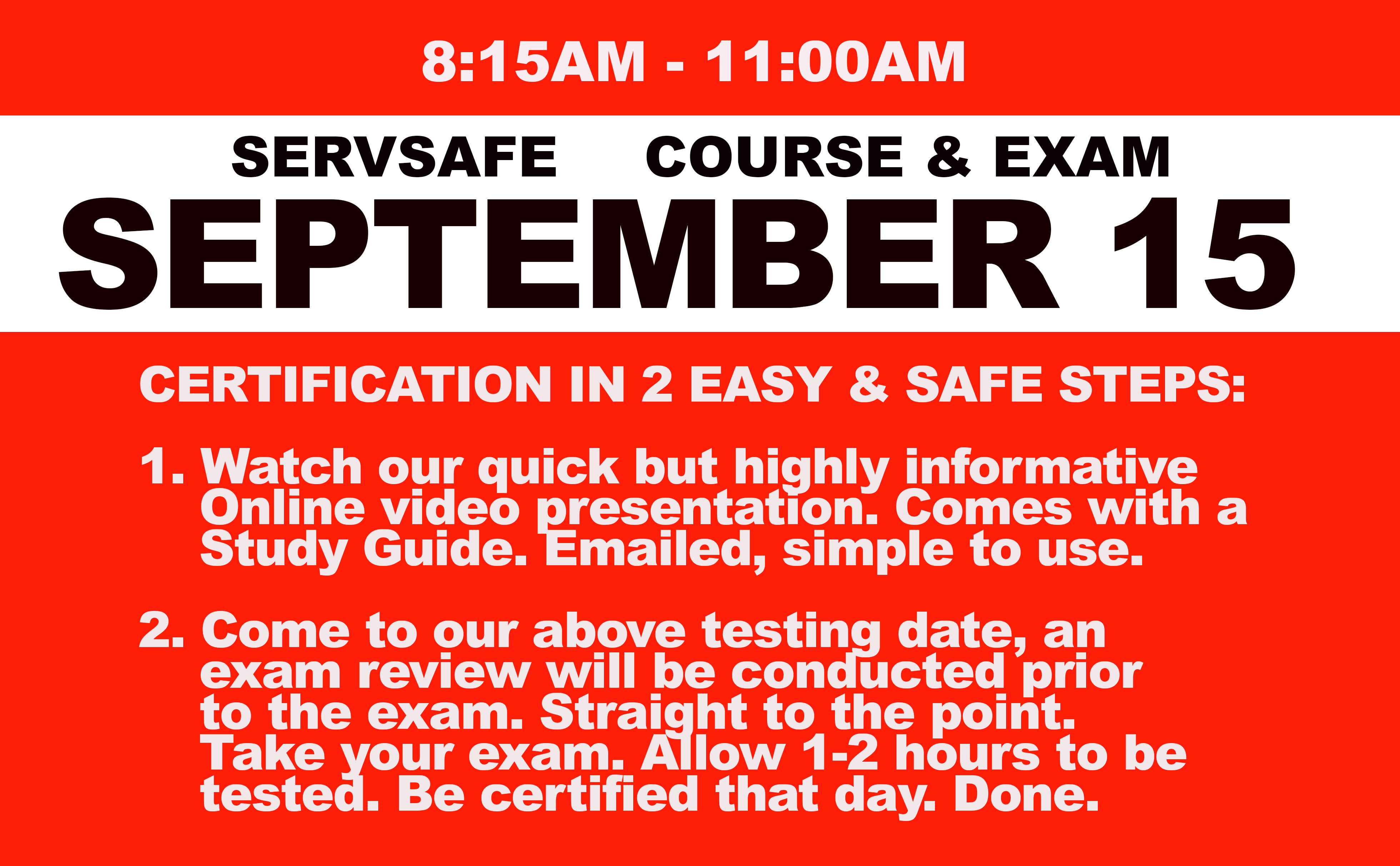 Online Course + Exam  Wed. September 15