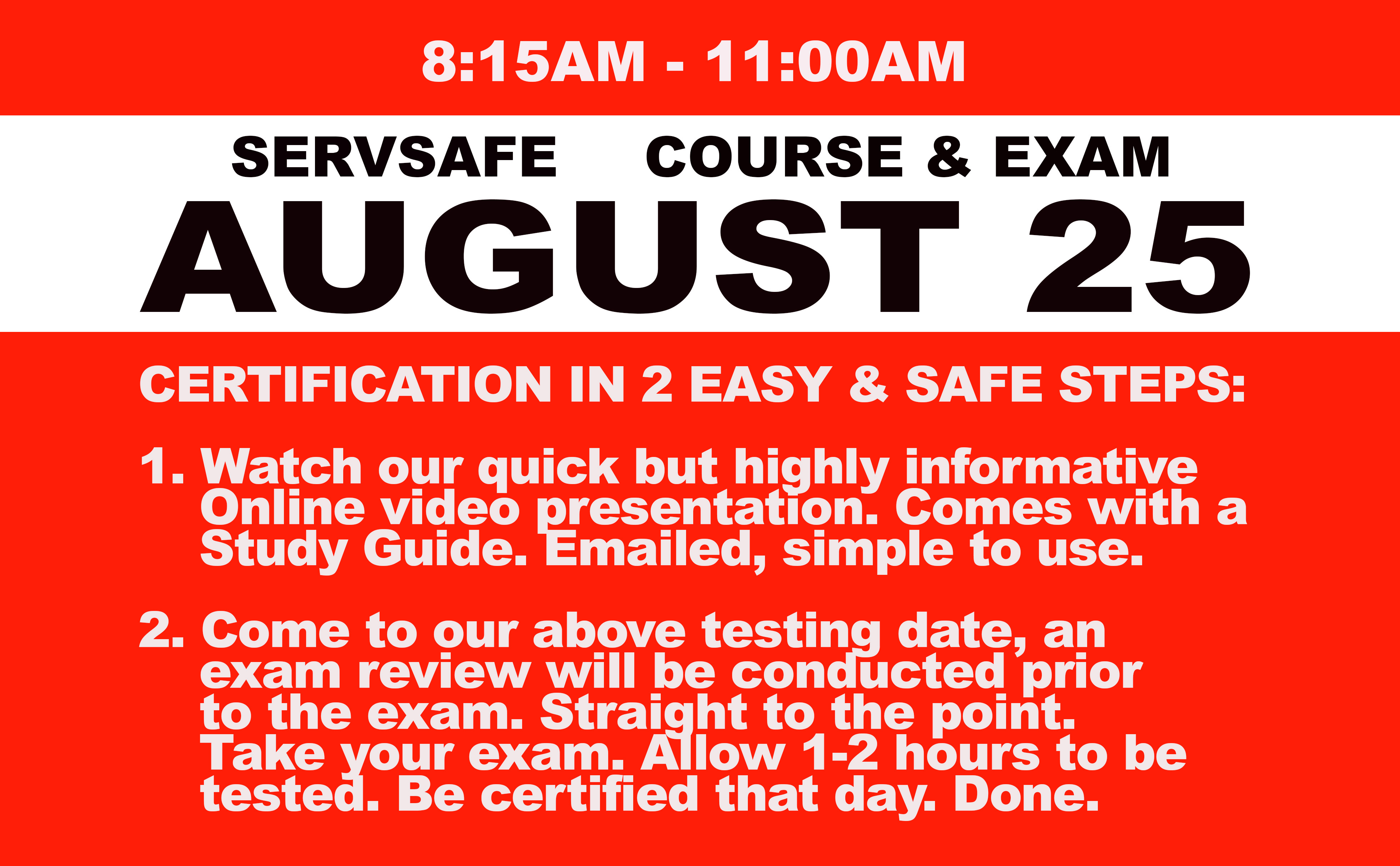 Online Course + Exam  Wed. August 25th