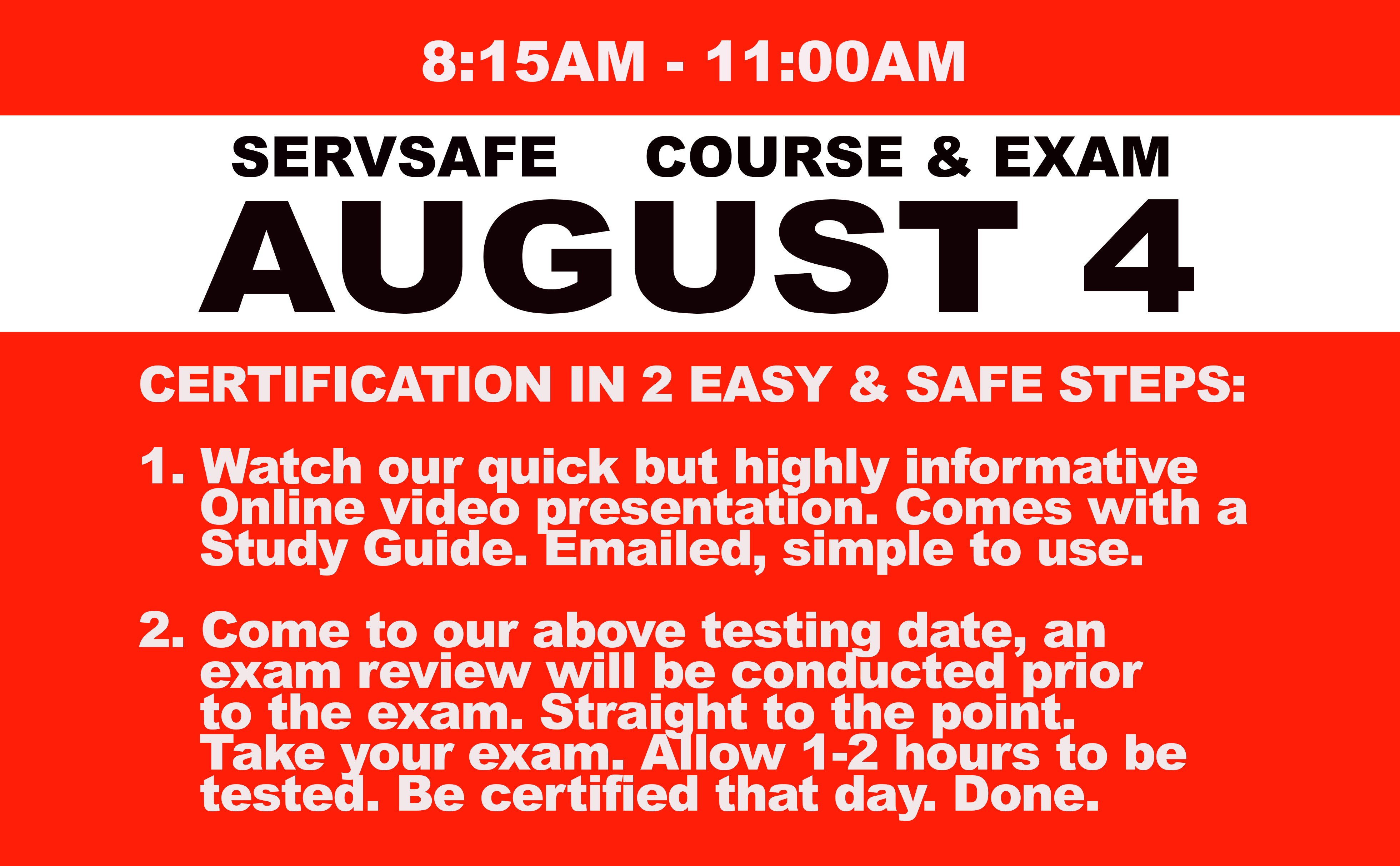 Online Course + Exam  Wed. August 4th