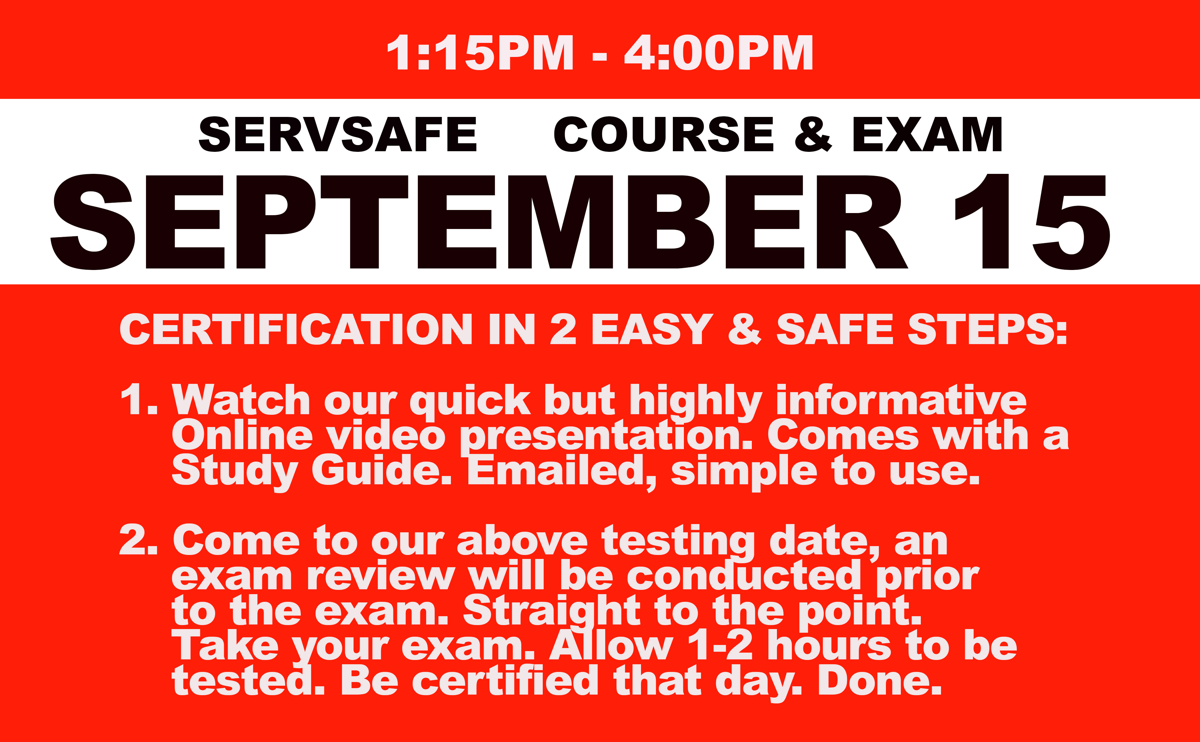 Online Course + Exam- Wed. September 15