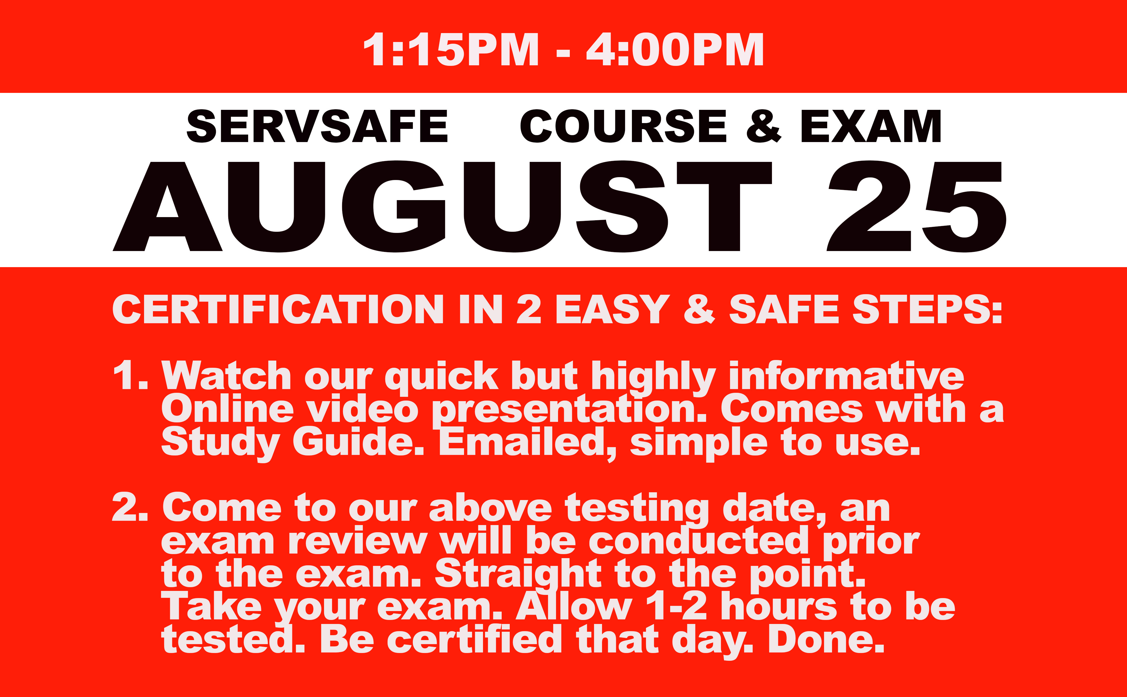 Online Course + Exam- Wed. August 4th
