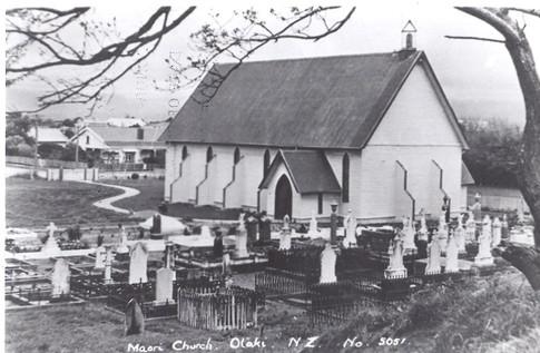 Copy of a postcard of Rangiatea Church and graveyard