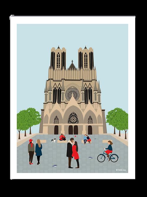 Affiche 30x40 Cathédrale Reims