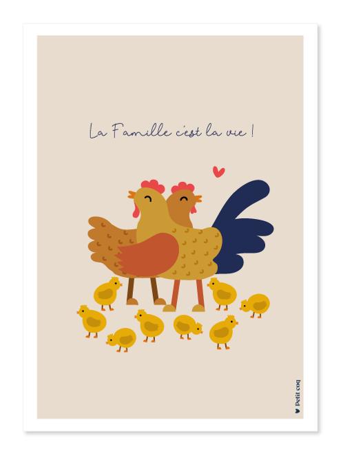 Affiche Famille poule