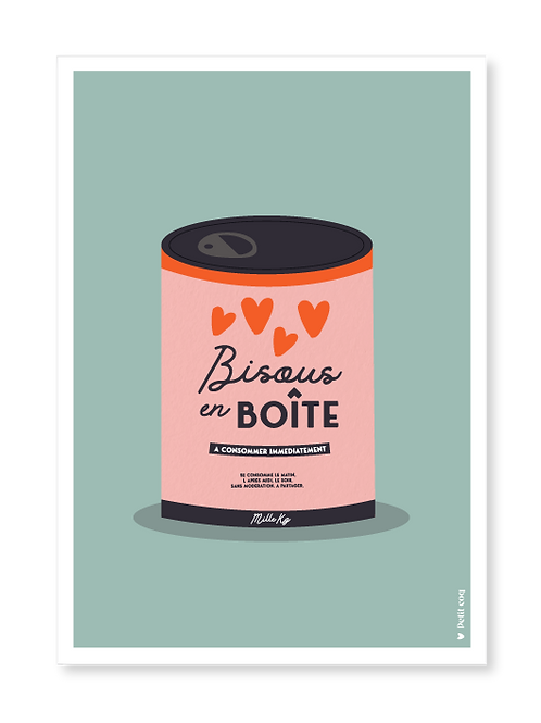 Affiche Bisous en boîte