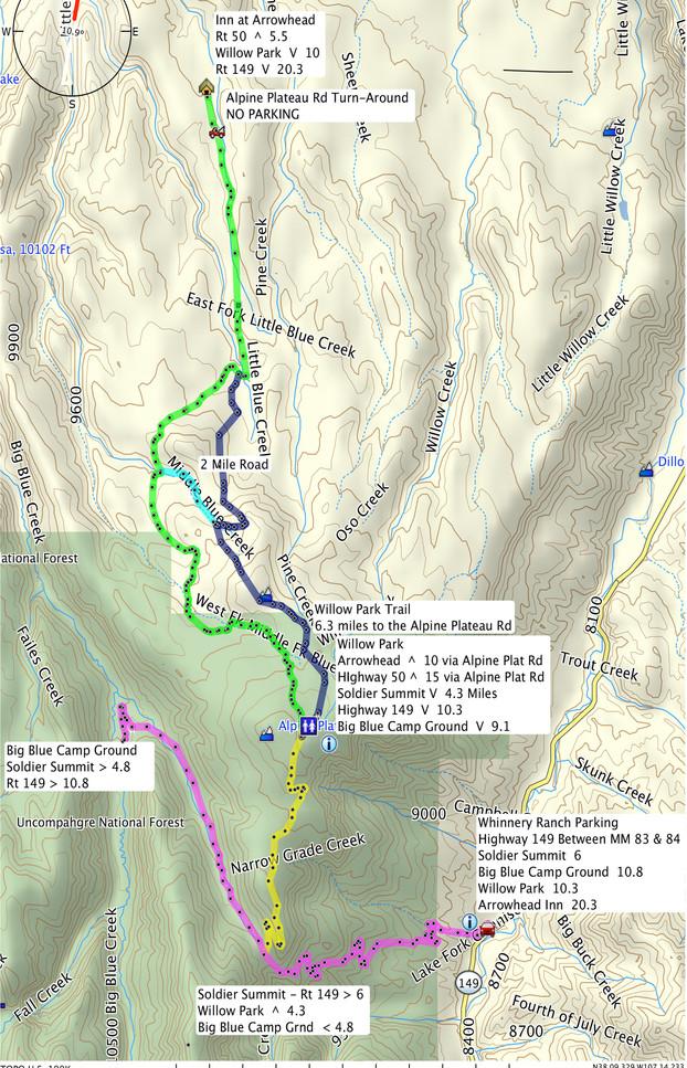 Alpine Plateau Groomed Trail Map