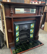 44. Edwardian Mirrored Double Shelf Mantle