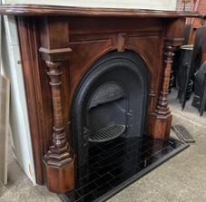49. Victorian Ornate Curved Shelf Turned Columns