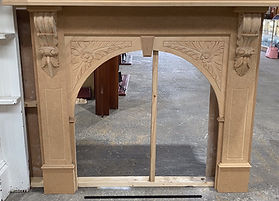 Raw Victorian Arch Carved Mantle