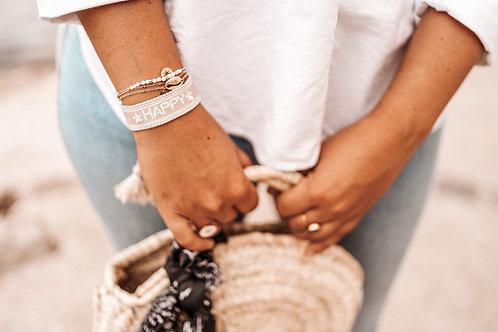 Bracelet tissé HAPPY beige