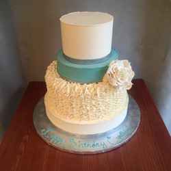 White ruffles and Turquoise