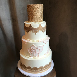 Gold Lace and Pink Brush Embroidery