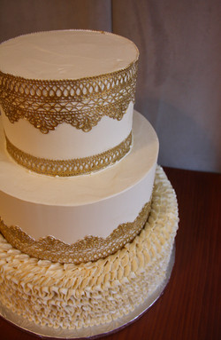 White Ruffles and Gold Lace