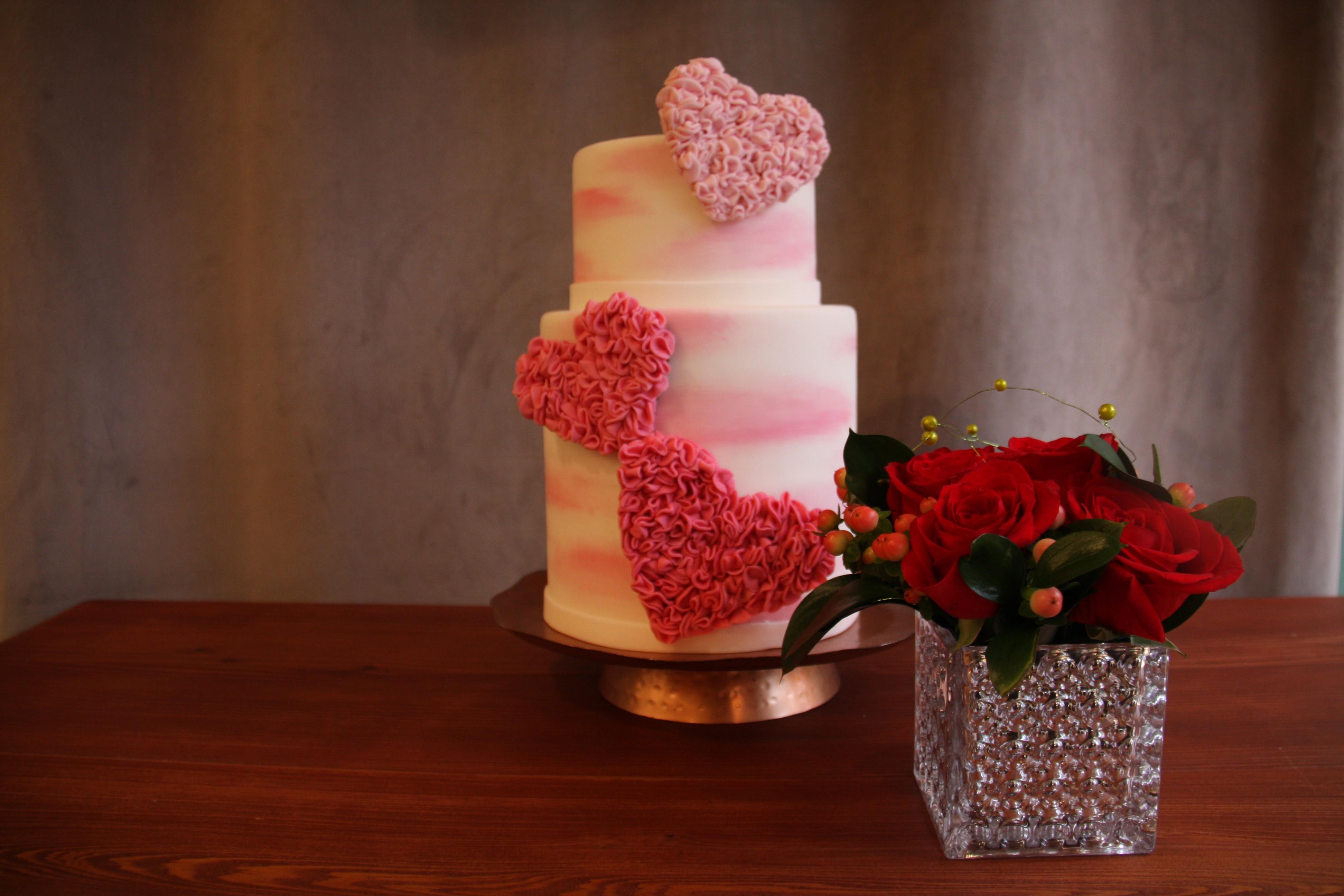 Pink Ruffle Hearts