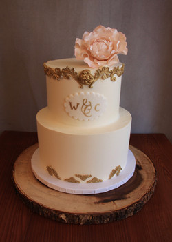 Antique Gold and Blush Pink Peony