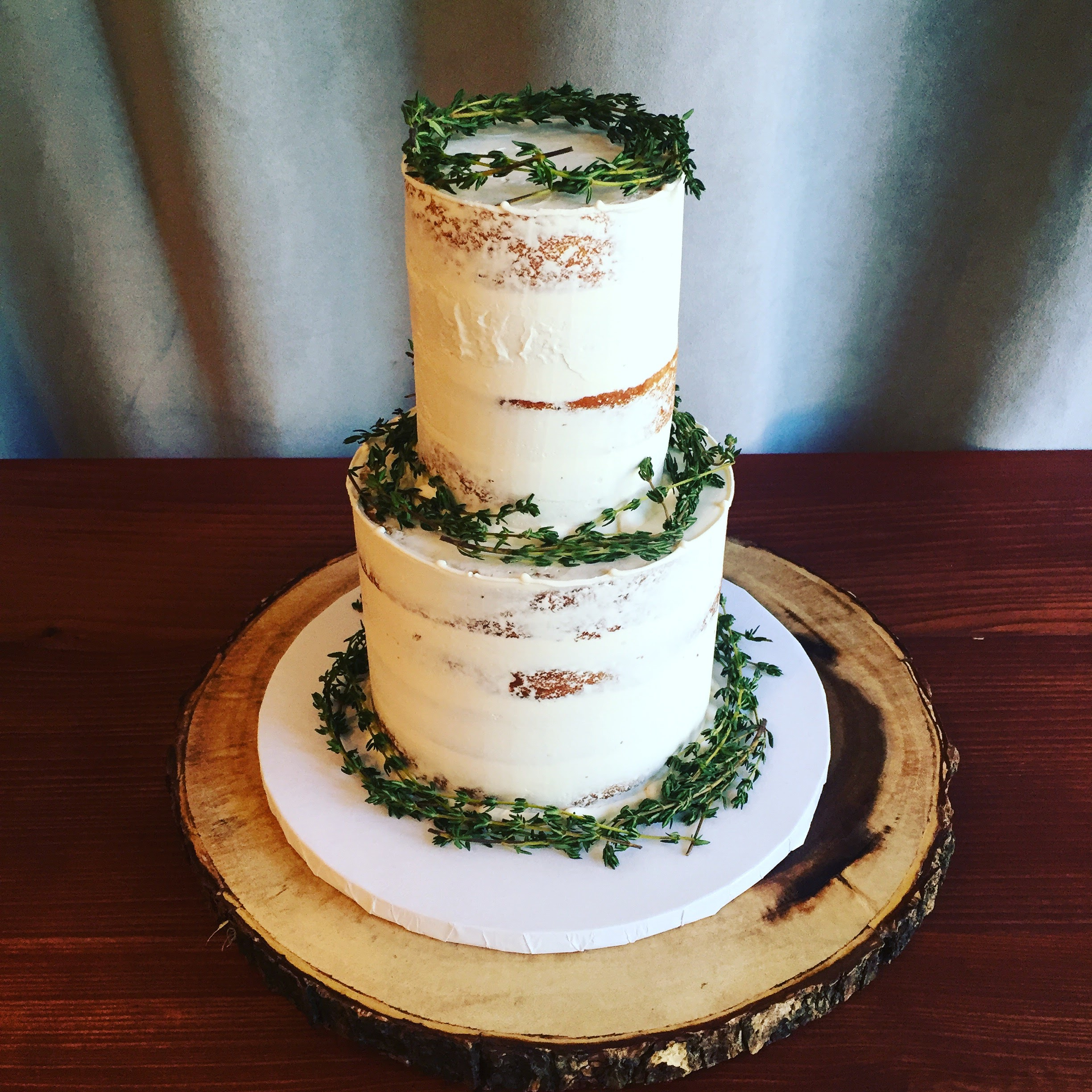 Semi Naked Cake with Fresh Thyme