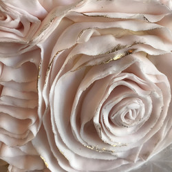 pink and gold ruffles, detail