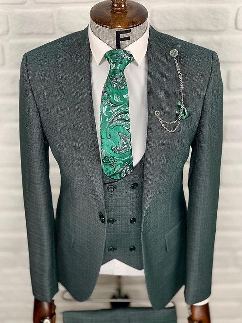 Мужской костюм тройка темно-зеленого цвета